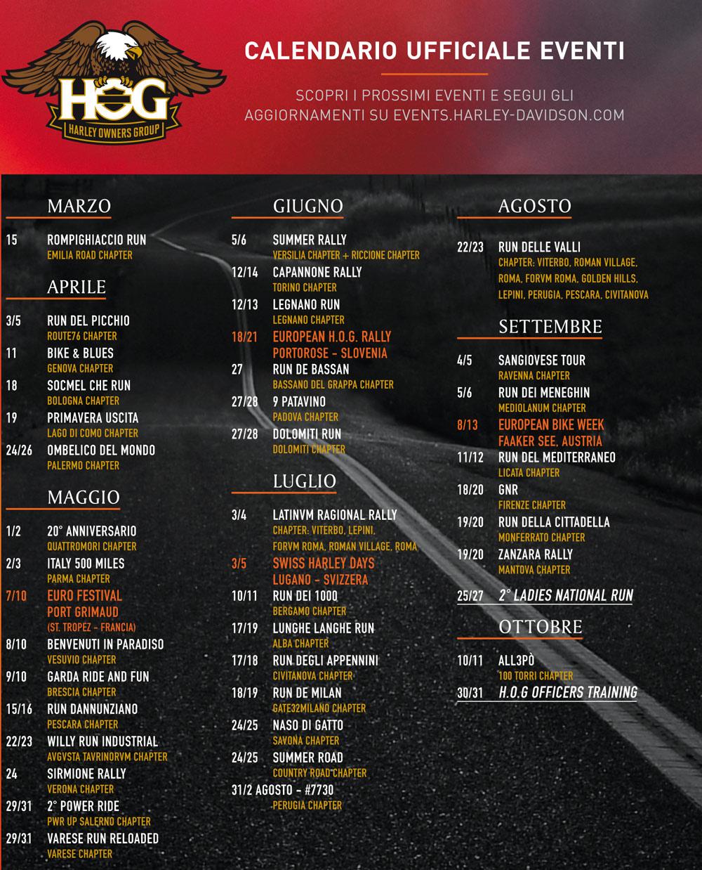 Calendario Raduni Hog 2021 Home